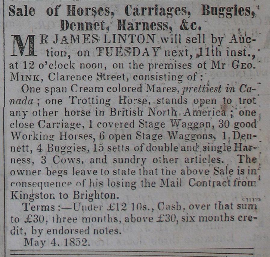 James Linton Auction (1852)