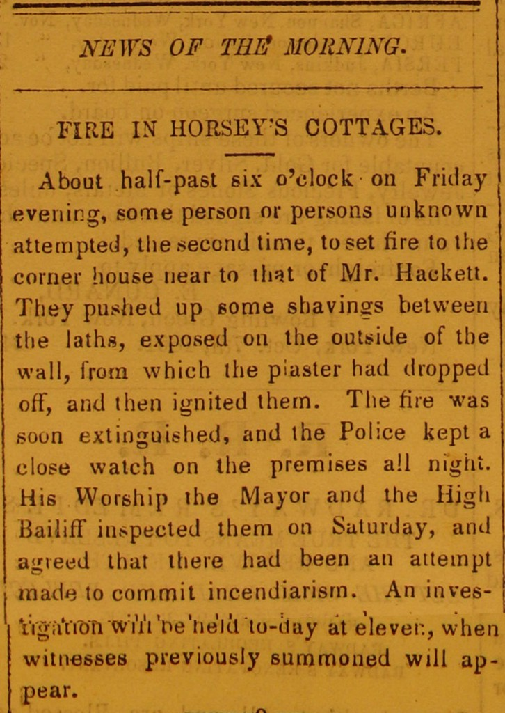 Newspaper: Fire in Horsey's Cottage.