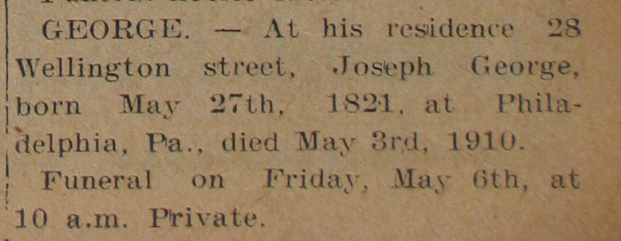 Death of Joseph George (1910).