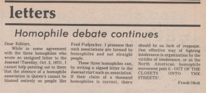 Article: Homophile Debate Continues