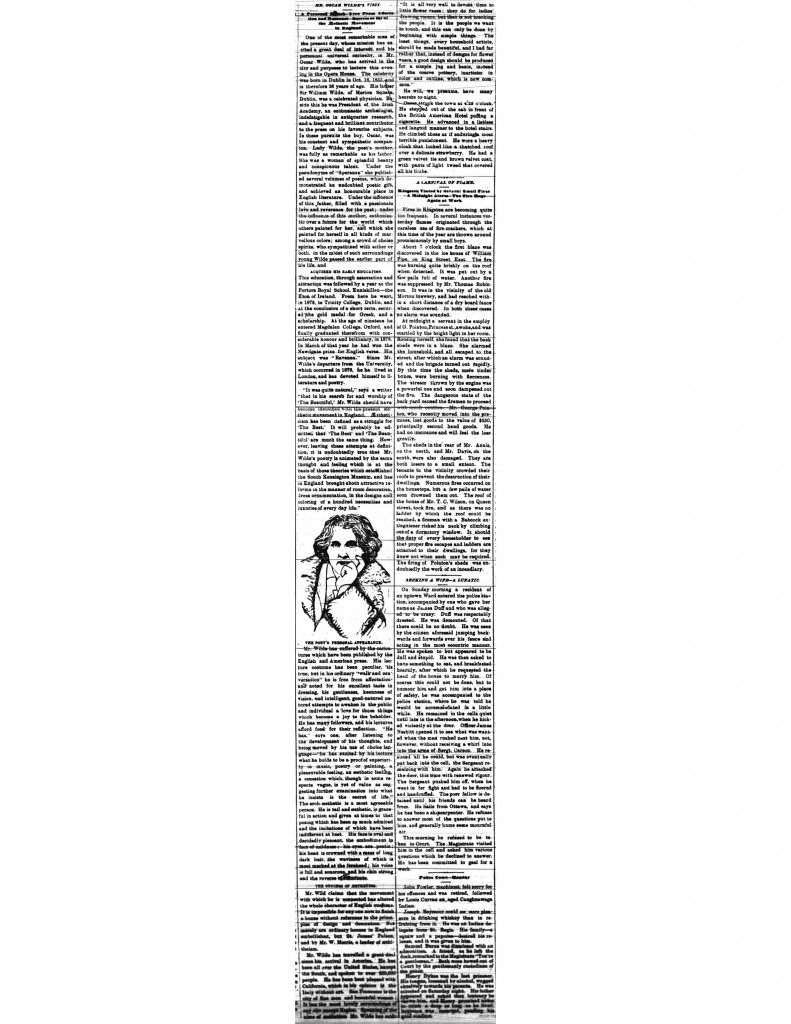 1882 Newspaper Clipping About Oscar Wilde's Lecture