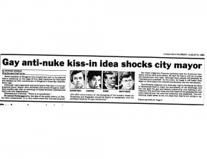 1985 Clipping: Gay Kiss-in Shocks Mayor