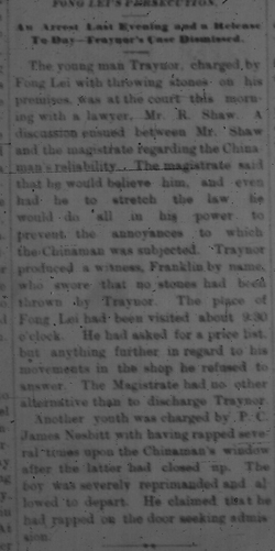 Fung Lei's Persecution 1881