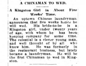 Chinaman to Wed 1912