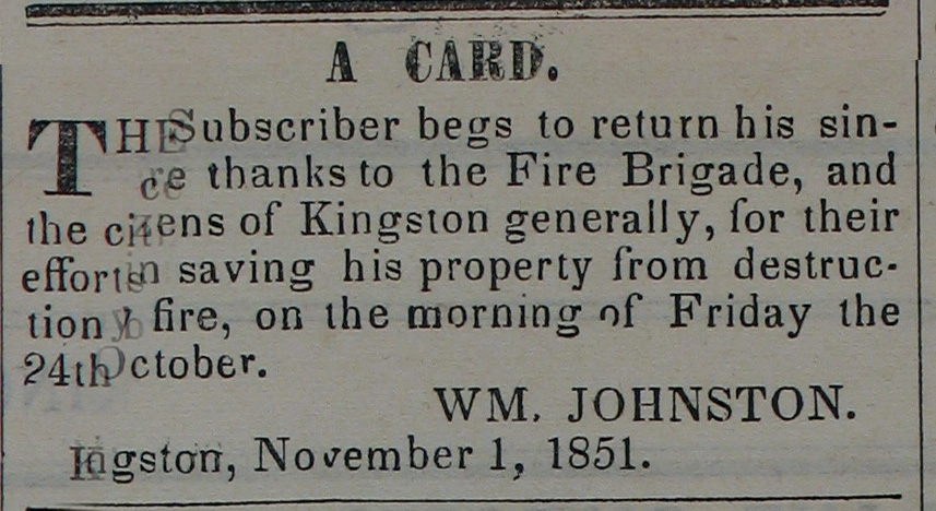 Newspaper: Johnson thanks Fire Brigade (1851)