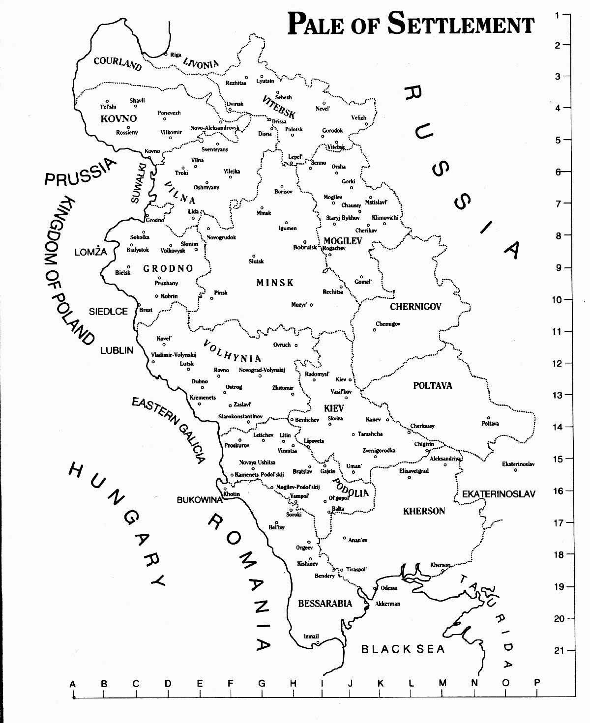 Map of Pale of Settlement
