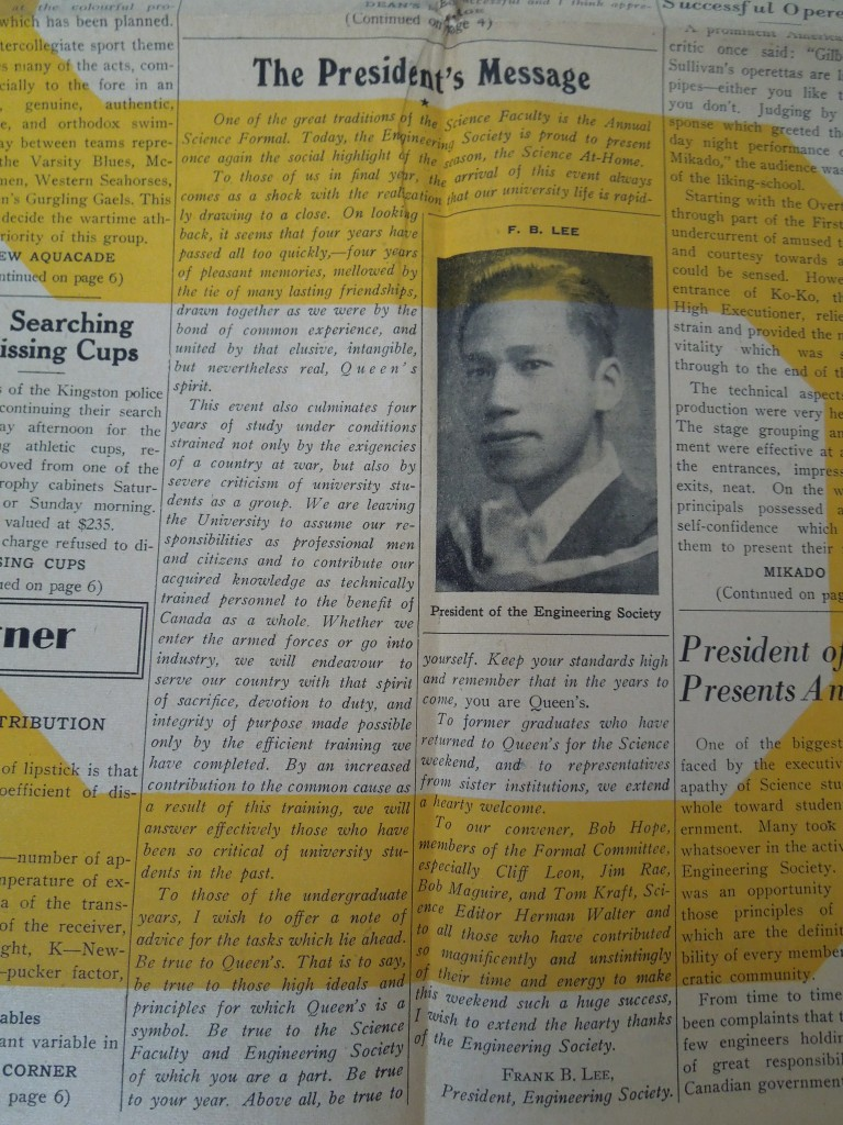 Queen's Journal, Feb 16 1945, F.B. Lee, The President's Message