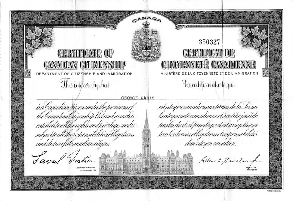 George Karis's Certificate of Canadian Citizenship.