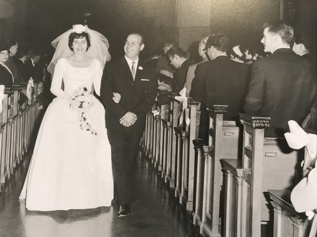 A photo from Louis and Toula Leos's wedding at St. George's Cathedral. Theirs was the last wedding from the Greek Community to be hosted in St. George's Cathedral, as a year later (in 1964) our church was built.