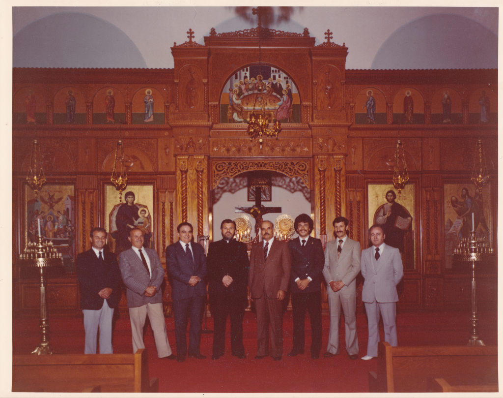 A photo of our church council in the 1970's. Manos Tryfonopoulos is on the far right, and Louis Leos is second from the right. Demitri Senis, third from the right, is the current president of the Greek community!