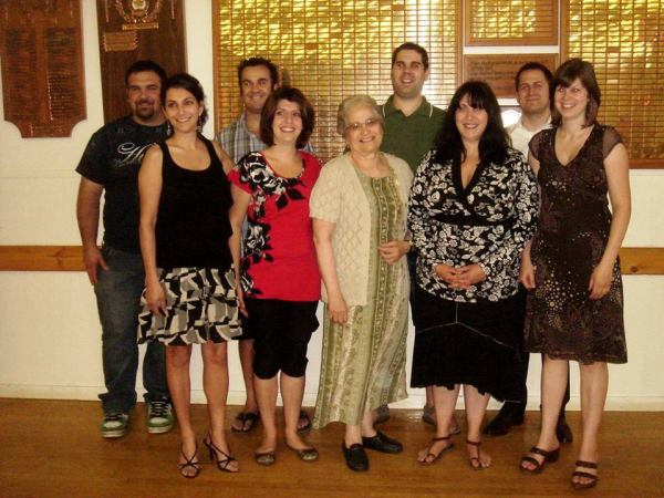 This picture is taken with Cleo's ex-students of the Melville/Yorkton Greek School that Andreas and Cleo established; photo taken when they visited Yorkton around 2013.