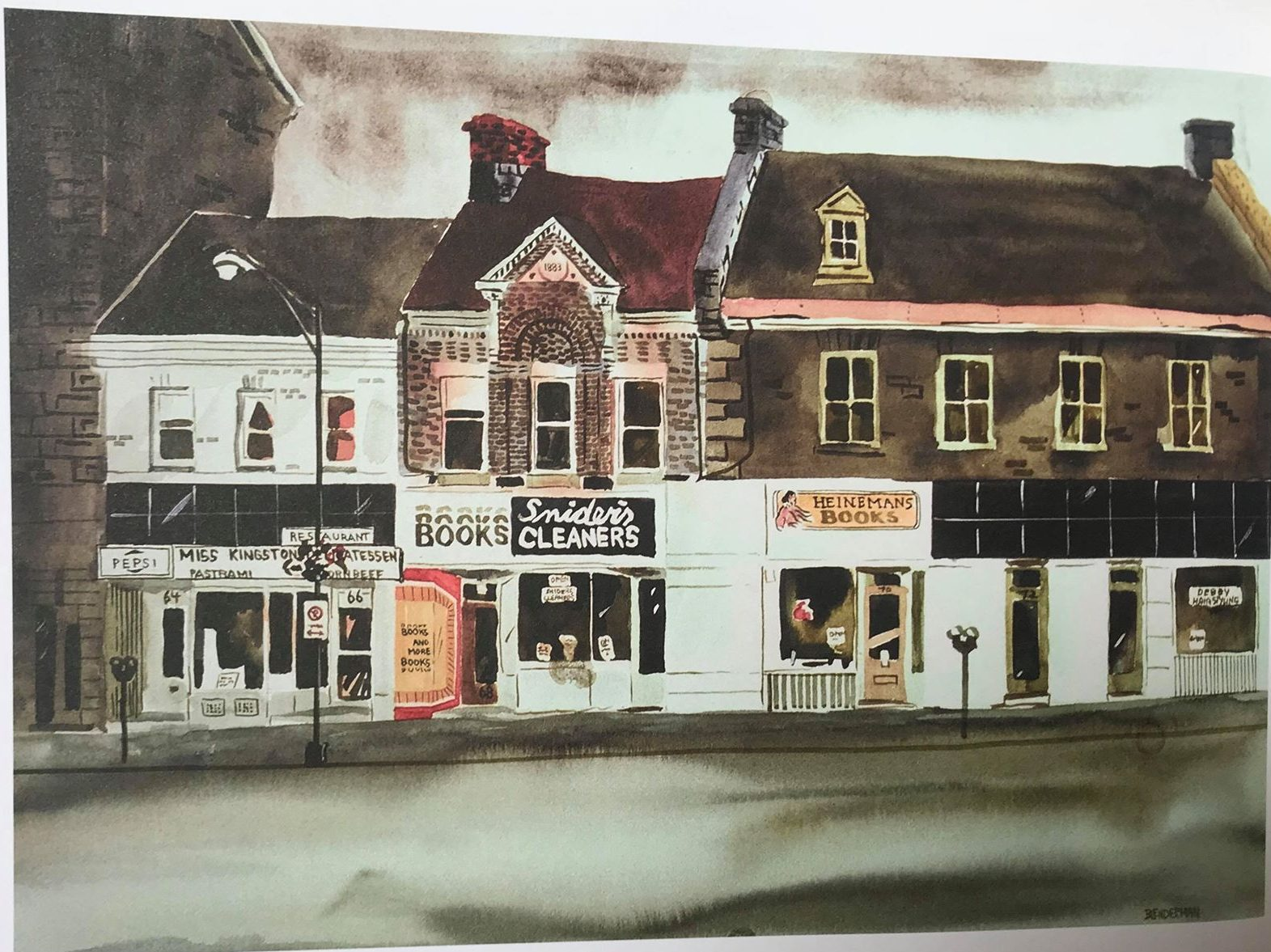 A painting containing a depiction of the Ms Kingston Delicatessen, painted by © Robert A. Blenderman