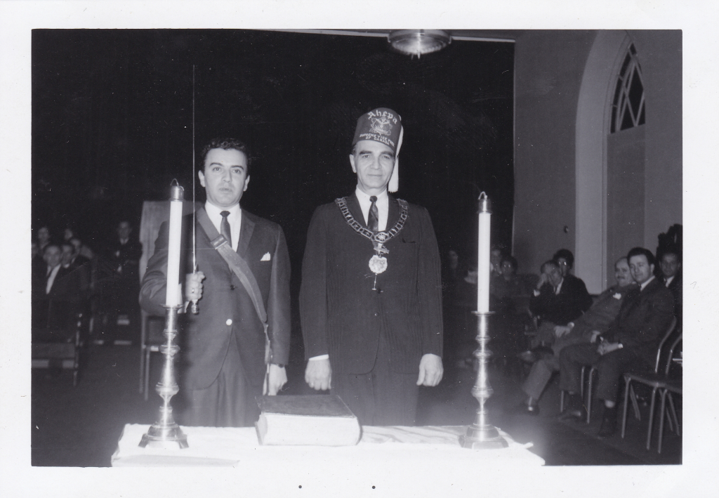 Spiro Sakell (Left) during a special AHEPA ceremony at the Masonic Hall on Queen Street.