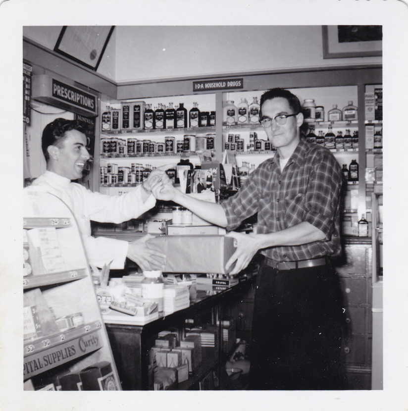 Spiro Sakell in 1956 at Moffat's Pharmacy