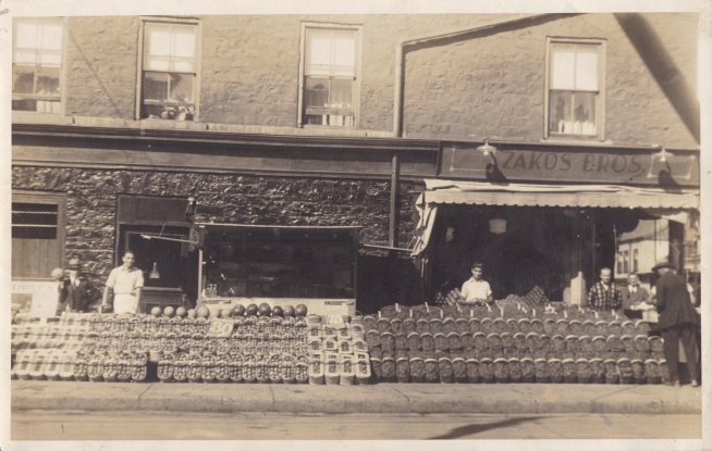 The Zakos Brothers Ltd. fruit and vegetable stand was one of the earliest Greek-run businesses in Kingston. It was opened in 1927 at 360 Princess Street.