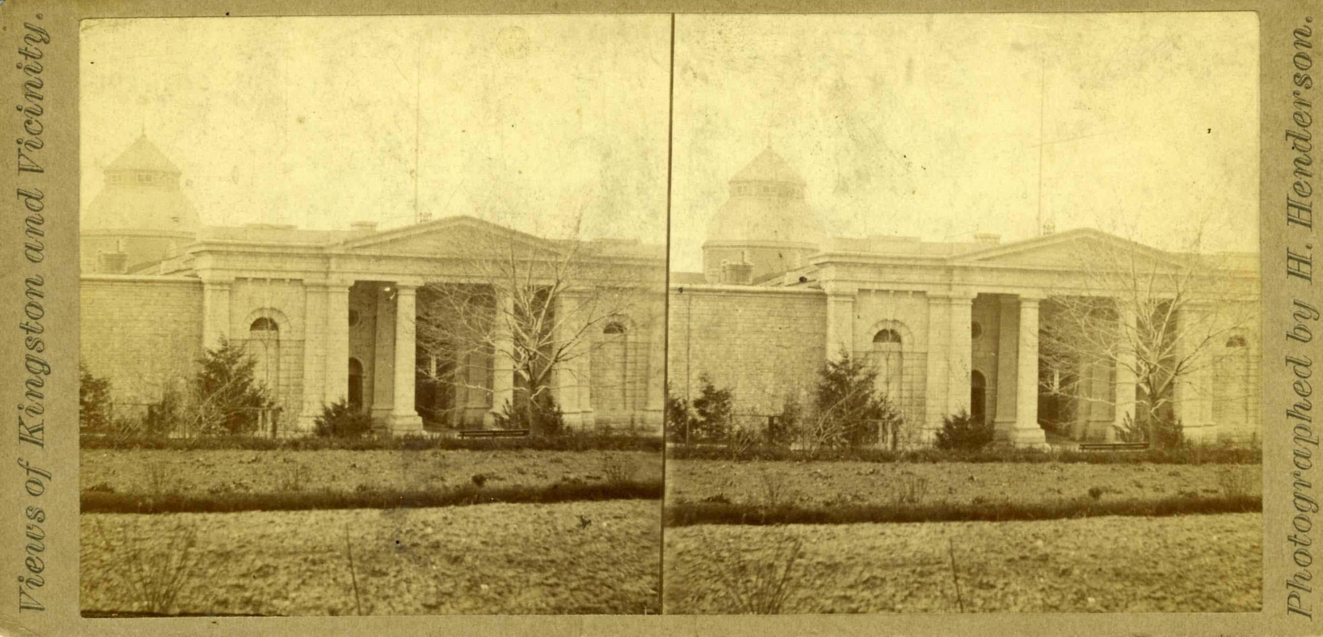 Stereoscopic photograph of Kingston Penitentiary taken by H. Henderson, circa 1890